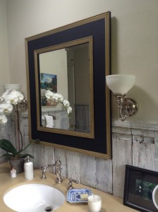 Mirror in bathroom. Three frames are combined to make this