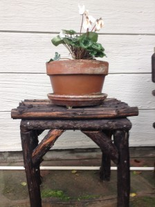 """Twig"" table made out of redwood branches"