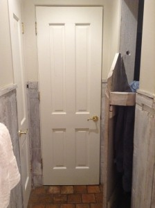 On the left, closet door, in the middle bathroom door and on the right, shower door.