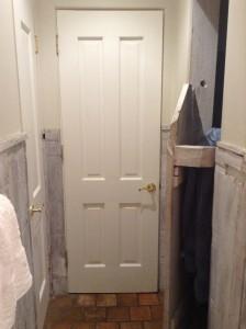 On the left, closet door, in the middle bathroom door and on the right, shower door.