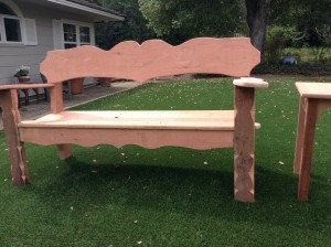 This is a brand new redwood bench before making wood look old